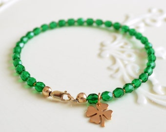 St. Patricks Day Jewelry, Gold, Bright Emerald Green Bracelet, Beaded Bracelet, Bronze Shamrock Charm