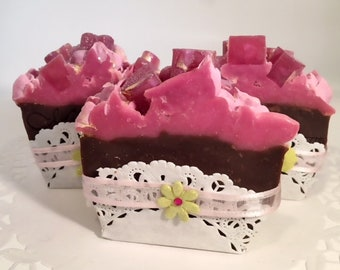 Cherry Vanilla Mini Soap Cake Slice-Handmade-Artisan-Coldprocess-Soap-Gift For Her-Birthday-Party-Luxurious-Pretty-Abbotsford-BC-Canada