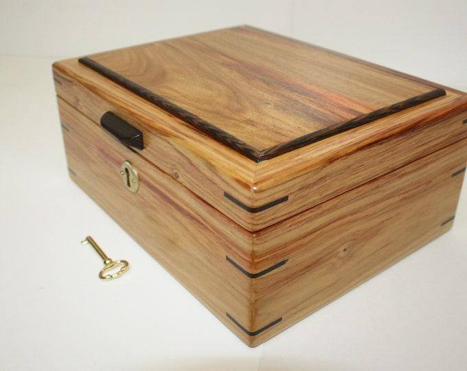 Handmade Locking Canarywood Box. Valet Box, Keepsake Box, Gun Box, Secretary Box, Jewelry Box Lift Out Tray, Adjustable, Removable Dividers