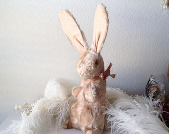 Vintage stuffed rabbit shabby pink Easter bunny plush antique old straw sawdust stuffing toy decoration tall wire ears