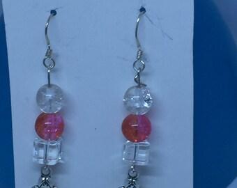 Silver angel dangly earrings