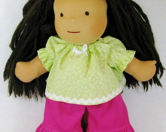 15 inch Waldorf Doll Clothes for Spring, Green Top and Pink Corduroy Ruffle Pants