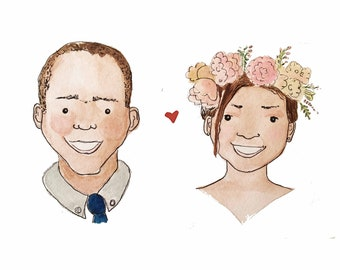Wedding or Engagement Custom Pen and Watercolour Illustration