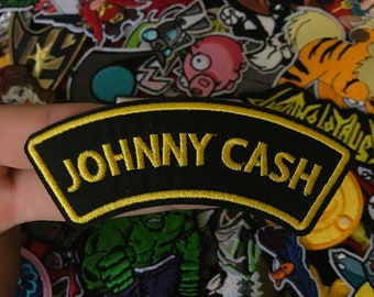 Johnny Cash Name Plate Iron-On / Sew-On Embroidered Patch, Custom Patch, Limited Edition Patch, Patches, Pins, Embroidered