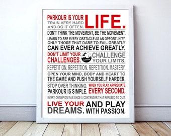 Parkour Is Your Life - Parkour Poster | Parkour Art | Boys Parkour Poster | Parkour Gift