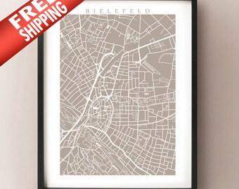 Bielefeld Map - Germany Poster Print