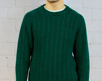 Mens Vintage 80s 90s Green Chunky Knit St. John's Bay Fishermans Sweater