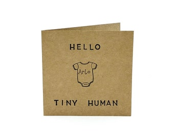 Hello Tiny Human — Personalised New Baby Card