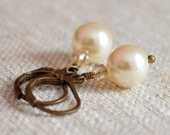 Ivory Pearl Earrings, Rustic Bridal Jewelry, Antiqued Bronze Brass, Woodland Wedding, Real Swarovski, Leverback Earwires