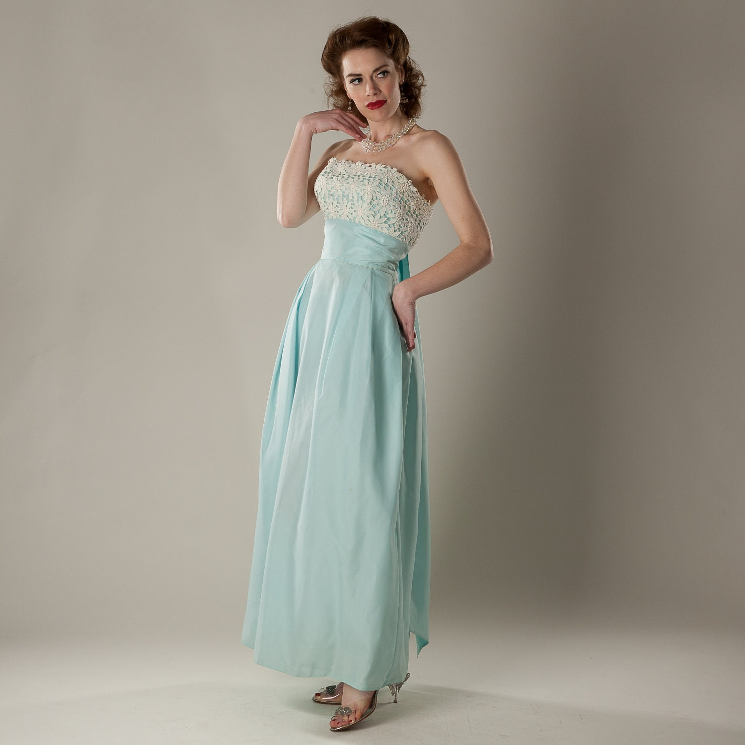 Vintage 1960s Strapless Prom Dress Blue Empire Waist Lace
