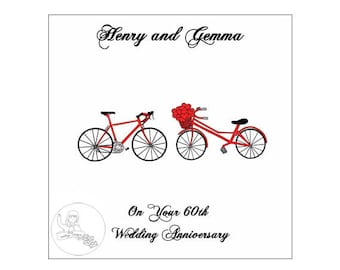 Handmade Personalised 60th Wedding Anniversary Card Road Bikes Bicycle Hearts Diamond