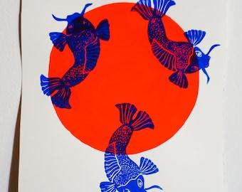 Fish linogravee pomegranate orange Sunrise poster neon