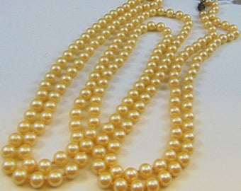 55 Inch Handknotted Glass Pearl Rope Necklace