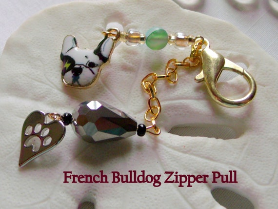 French bulldog zipper pull - I love my dog charm- adopt a puppy - small dog accessory -  Journal - dog bag gift - add a charm - enamel face