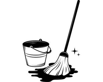 Mop Bucket #1 Cleaning Maid Service Housekeeper Housekeeping Clean Floor Mopping .SVG .EPS .PNG Digital Clipart Vector Cricut Cutting File