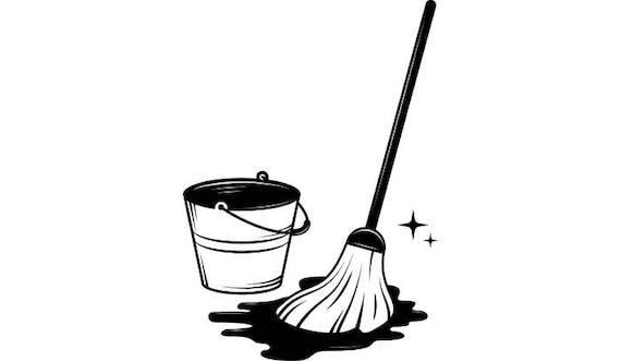 Mop Bucket #1 Cleaning Maid Service Housekeeper Housekeeping Clean Floor Mopping .SVG .EPS .PNG