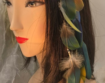 Dangling Parrot Feather Hair Clip, Parrot Feather Hair Extension, Long Tribal Hair Accessory, Festival Wear, Hair Clip, Feather Hair Clip