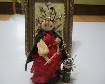 Fortune Teller Corn Doll, Doll with Crystal Ball, Goddess of Fortune Telling, Crystal Ball Reader, Pagan Decor, Witchey Decor, Altar Decor