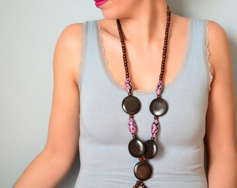 """Long wooden necklace and polymeric pasta style boho chic """"Janis"""""""