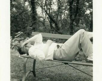 "Vintage Photo ""Migraine at the Park"" Sleeping Sleep Nap Napping Man Bench Tired Odd Weird Sick Ill Found Old Paper Ephemera Vernacular - 136"