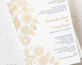 Gold Paisley - Wedding Invitations (Style 13790)