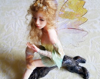 OOAK Hand Sculpted Fairy Art Doll Collectable Wearing Green Dress of Hand Dyed Fabric