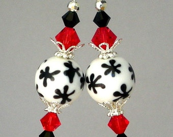 Black and white snowflake earrings, red and black Swarovski crystal, lampwork glass, round snowflake earrings
