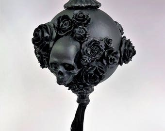 Venetian Paper Mache Christmas Ornament Skulls and Roses Black
