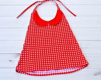 Girls Halter Top - Girls Red Top - 4th of July Top - Girls Tank Top - Gingham Shirt - Halter Tank Top - Gingham Top - Back To School Shirts