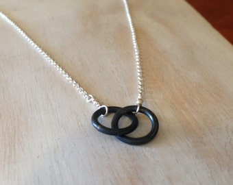 6th Anniversary Gift Tiny Two Circle Necklace  Infinity Necklace Entwined Together Necklace Iron Jewelry - made to order