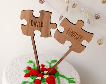 Puzzle Cake Topper, Two Puzzle Pieces Wedding Cake Toppers, Rustic Wooden Cake Topper, Personalized Cake Topper, Your Wood Choice