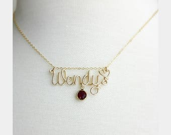 Handcrafted Wire Name Necklace, Personalized Necklace with Birthstone Crystal, 14K Gold Filled Sterling Filled, Personalized Name Necklace