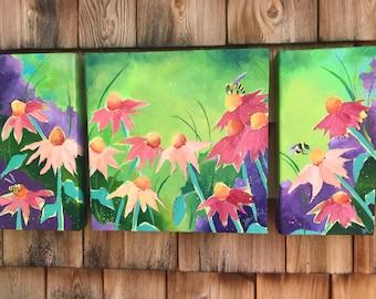 Echinacea Garden Triptych