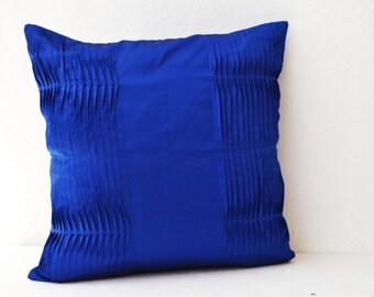 Royal blue pillow covers, Cotton Throw pillow, Silk pillow, pleated pillow, textured pillow, blue pillow, blue lumbar pillow, lumbar pillow.