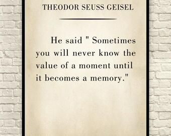 Theodor Seuss Art Print, Dr Seuss, Art Print, Custom Art Print, Book Page Art Print, Wall Art, Christmas Gift, Theodor Seuss Quote.