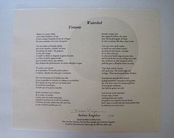 Original Limited Edition Broadside SIGNED by Barbara Kingsolver
