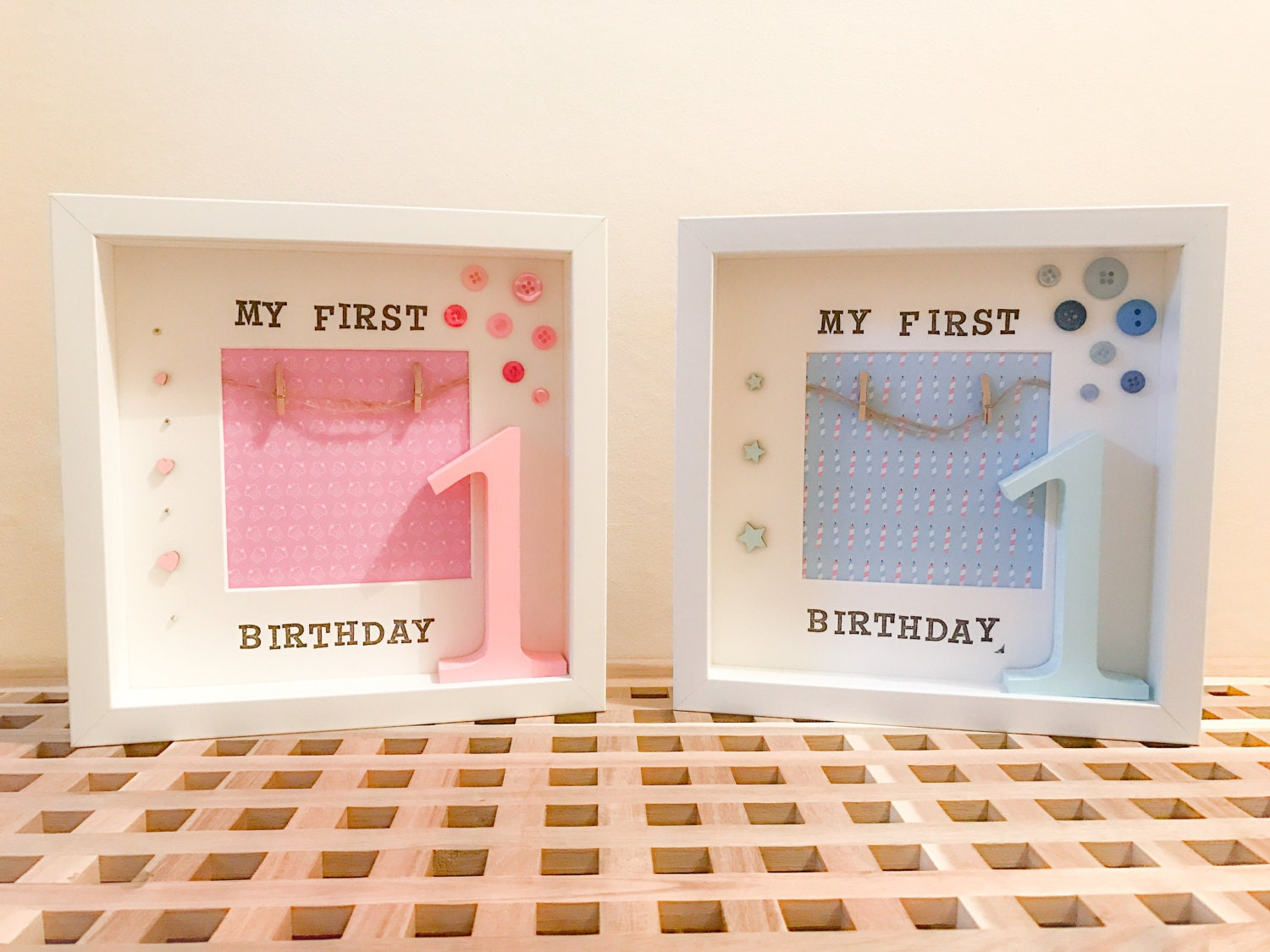 First birthday box frame, pink or blue from GraciesGiftCo on Etsy Studio