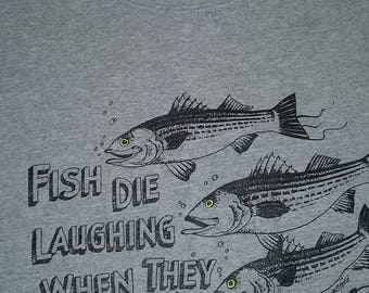 "DAD's Fisherman Sweatshirt - Grey and Sage ""Fish Die Laughing When They Hear My Name"" Warm Fishing Sweat - Heavy Very Soft 50/50 Poly/Cotton"
