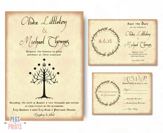 Geek Wedding Invitation Set Lord Of The Rings Wedding - Geeky wedding invitation templates