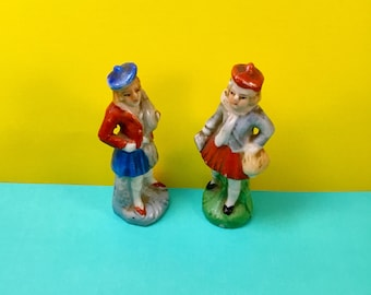 Vintage MADE IN JAPAN Ceramic Figurines School Girls in Pleated Skirts and Tams