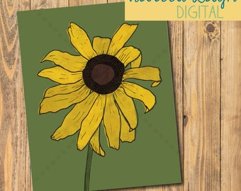 Black Eyed Susan Art Print | Printable | Poster | Flower Art