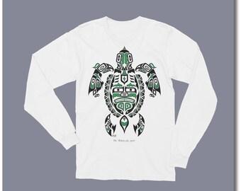 "Haida Style Turtle Long Sleeve Shirt - ""The Traveler"" - Pacific Northwest Coast Turtle Art Tee (Sml - 2XL)"