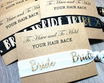 Bachelorette Party Favors | Black + Gold Bride Tribe Hair Tie Favor | To Have & To Hold Your Hair Back Favor | Bachelorette Hair Tie Favor