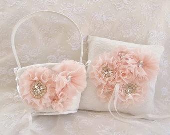 Blush Flower Girl Basket, Blush Flower Girl Basket Set