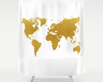 Gold World Map Shower Curtain White Background Apartment Home Bathroom Decor Travel Gift For The Traveler