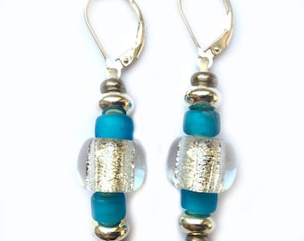 TOTMANI EARRINGS with inlaid silver foil glass