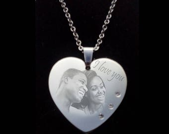 RHINESTONES to be engraved with your photo Heart Locket