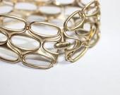 Vintage Fossil Bracelet Wide Openwork Lattice Link Bracelet Modern Matte Gold Vintage Bracelet Name Brand Vintage Fashion Jewelry