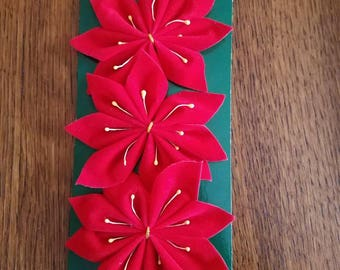 Vintage Flocked Christmas Poinsettia Bow Pack of 3