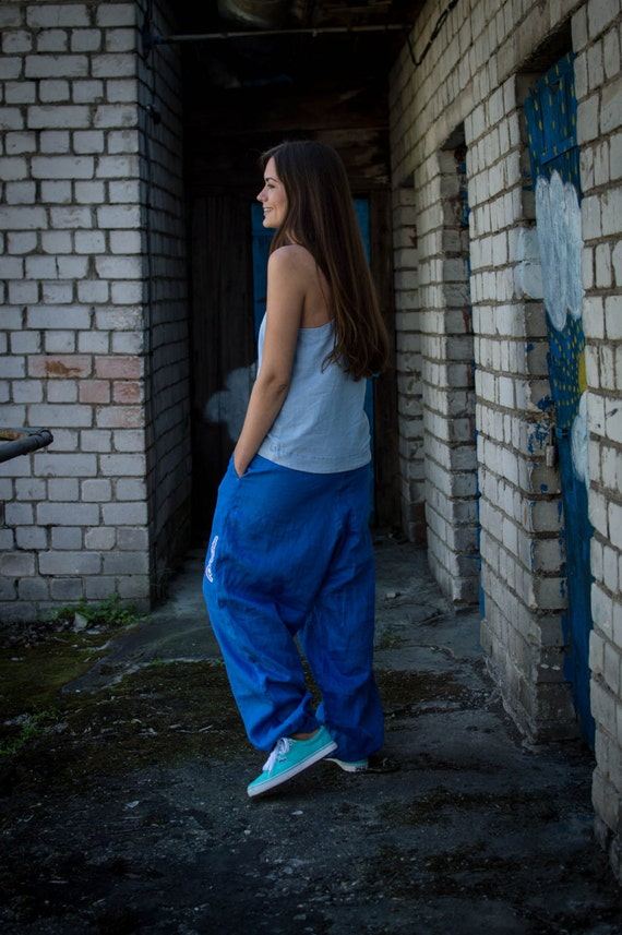blue Pants Baggy pants pants Unisex Linen pants Light pants Linen Yoga Blue Bright Linen trousers Harem fYw5qvR75